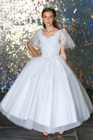 White Communion Dress With Floor Length Tulle Skirt