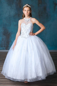 1st Communion Floor Length Dress With Beaded Bodice