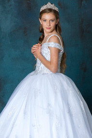 Girls Off The Shoulder Beaded Bodice Communion Dress
