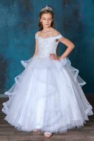 Beautiful Beaded Communion Dress With Horsetail Ruffled Skirt