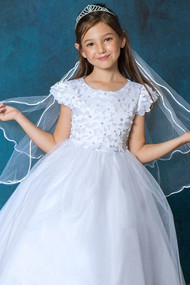 Girls Adorable First Communion Dress With Flower Applique