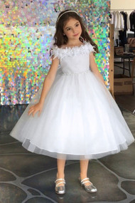 Beautiful Off The Shoulder 1st Communion Dress  With Flower Accent