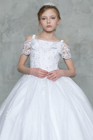 1st Communion Dress With Beautiful Lace Accent Neckline