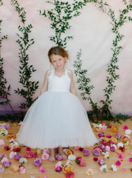Amalee Couture Flower Girl Communion Dress With Lace Accents