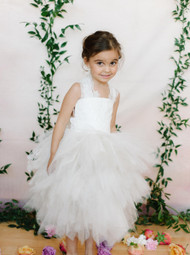 Amalee Couture Flower Girl Dress With  Tea Length Tulle Skirt