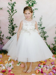 Amalee Couture Communion Flower Girl Dress  With Lace Applique