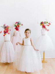 Floor Length Satin Tulle Flower Girl Dress By Amalee Couture