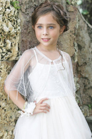 Girls Beautiful Couture Beaded Communion Flower Girl Cape