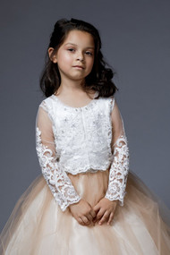 Communion Flower Girl Couture Beaded Long Sleeve Bolero