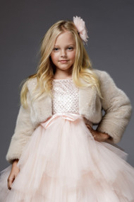 Couture Flower Girl And First Communion Faux Fur Jacket