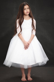 Embroidered Tulle 1st Communion Dress In Tea Length
