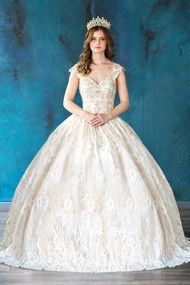 Stunning Quince Ball Gown In Lace Overlay And Crystals