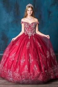 Quince Off The Shoulder Beaded Party Gown For Special Occasion
