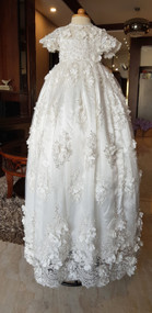 Handcrafted Couture Beaded Baptismal Gown With 3D Flowers