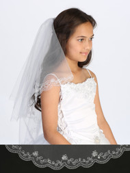 Girls White  Double Layer Communion Veil With Crystal Beading