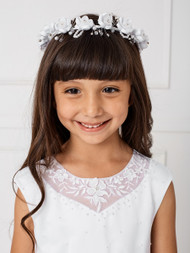 Girls White Communion Veil With Beautiful Flower Crown