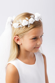 Simply Charming Girls First Communion Veil With Floral Wreath