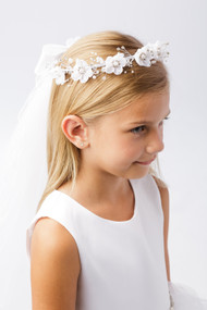 Girls White Floral Wreath With Communion Veil