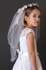 Satin Trimmed First Communion Veil With Faux Pearls