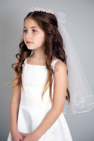Pearl Accent Head Wreath With First Communion Veil