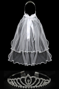 Girls Crystal Rhinestone Tiara With Communion Veil In White