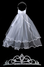 White 1st Communion Veil With Rhinestone Crystal Tiara