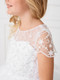 Lovely First Communion Tea Length Dress With Illusion Neckline