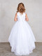 Lace Trimmed Communion Dress With Illusion Neckline Train Skirt