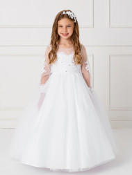 Gorgeous Long Sleeve 1st Communion Dress With Sheer Neckline