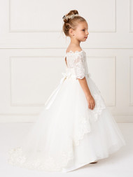 Off The Shoulder First Communion Dress With Lace Train