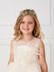 Girls Crystal Floral Headpiece With Satin Ribbon Tie