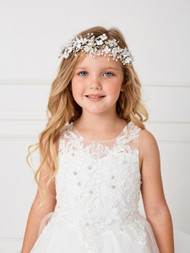 Stunning Floral Wire Headpiece With Crystals And Satin Tie