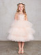 Girls Beautiful Metallic Glitter Pageant Party Dress With Tulle Skirt