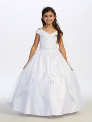 Off The Shoulder First Communion Dress With Lace Overlay