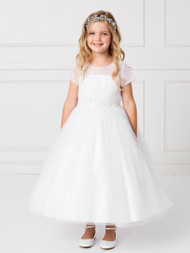 Tea Length First Communion Dress With Illusion Neckline