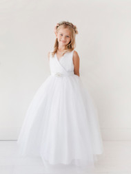 Beautiful Floor Length 1st Communion Tulle Dress