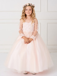Stunning Lace Embroidered Flower Girl Dress With Detachable Train