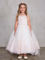 Flower Girl Dress With Embroidered Bodice And Train Skirt