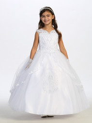 Girls First Communion Dress With Beaded Lace Bodice