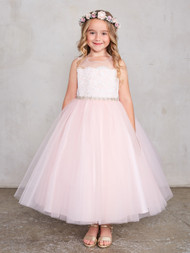 Gorgeous Flower Girl Dress With Lace Overlay And Crystal Belt