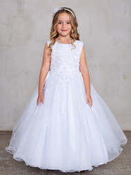 Plus Size First Communion Dress With Lace Bodice And Tulle Skirt