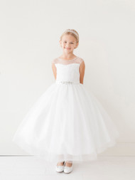 Beautiful Girls First Communion Dress With Illusion Neckline