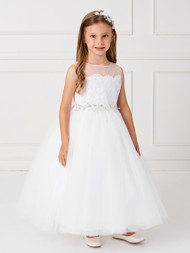 1st Communion Dress With Lace Overlay And Crystal Belt