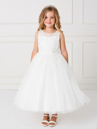 White Or Ivory Lace Tulle Communion Dress In Tea Length