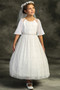 Girls Floor Length 1st Communion Dress With Butterfly Sleeves