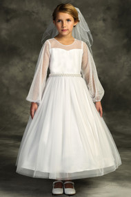 Lovely First Communion Dress With Sheer Long Sleeves