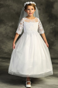 1st Communion Dress With Beautiful Lace Sleeves And Bodice