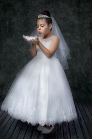 Girls Floor Length First Communion Dress With Beaded Lace Bodice