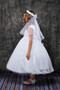 Sleeveless Communion Dress With Lace Applique Bodice
