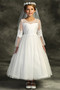 Girls First Communion Dress With Sheer Embroidered Long Sleeves